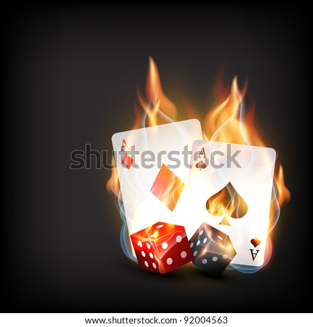 casino playing cards in burning style