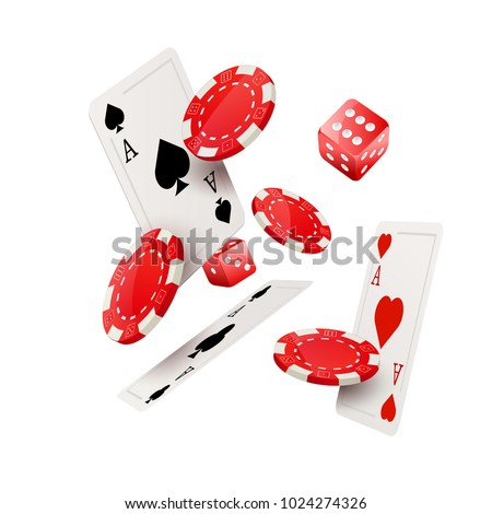 Casino poker design template. Falling poker cards and chips dice game concept. Casino lucky background isolated.