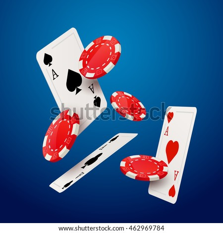 Casino poker design template. Falling poker cards and chips game concept. Casino lucky background isolated.