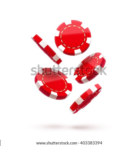 casino red chips isolated on