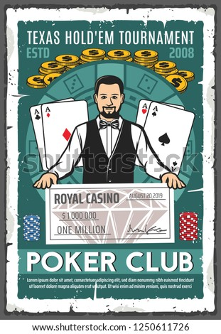 Casino retro poster with croupier holding million dollar check. Gambling place, play cards or aces and gold coins, chips for stakes and money prize. Tournament or championship in gamble game vector