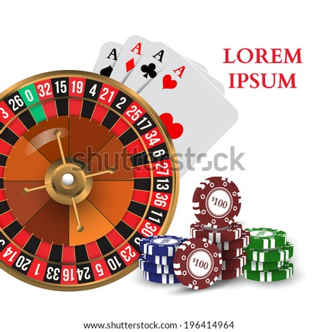 Casino Roulette Playing Cards with Chips Vector illustration