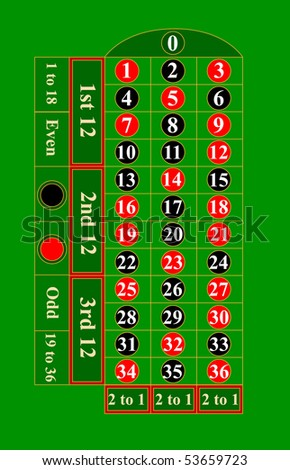 Casino Roulette table. Vector