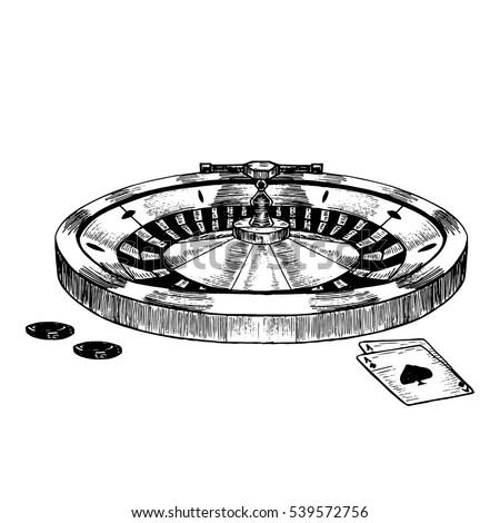 Casino Roulette Wheel Hand Draw Sketch Vintage Retro Style Elements for Your Design. Vector illustration