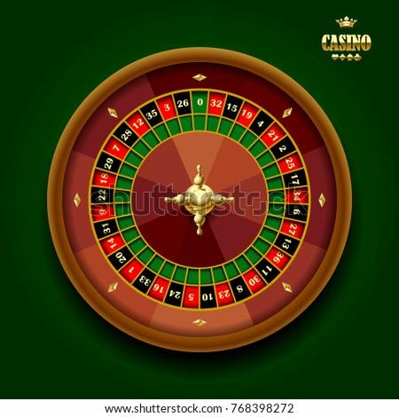 Casino roulette wheel on dark green background. Vector illustration