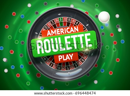 casino roulette wheel with chips isolated on green table realistic objects 3d with place for text eps 10 vector illustration