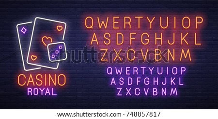 Casino Royal neon sign, bright signboard, light banner. Casino logo, emblem and label. Neon sign creator. Neon text edit