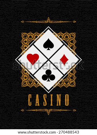 Casino sign with Card Suit symbol on textured background