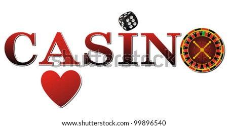 casino sign with roulette, dice and cards on white background