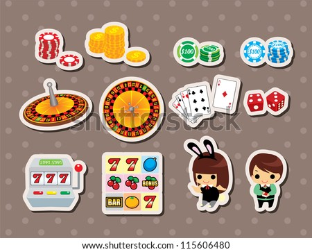 casino stickers - stock vector