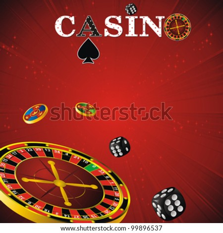 casino symbols roulette wheel, dice and chips on red strip background