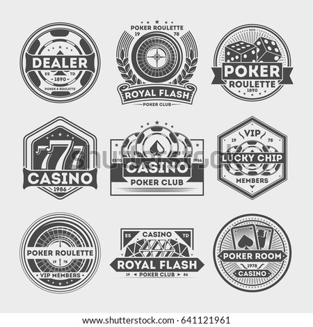 Casino vintage isolated label set. Poker roulette badge, royal flash logo, vip poker club dealer symbol, lucky casino chip emblem. Games of chance or gambling sign vector illustration collection.