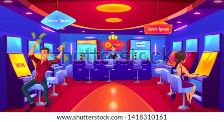 Casino with people gambling playing on slot machines, win lose money. Las Vegas nightlife business industry. Gaming house interior with bar counter and barman making drink. Cartoon vector illustration