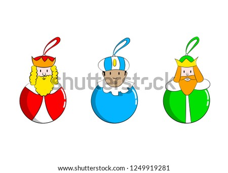 Caspar, Melchior and Balthazar.   Christmas baubles with Three Wise Men.