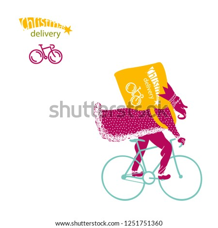 Caspar rider. Bike Messenger. Christmas card.