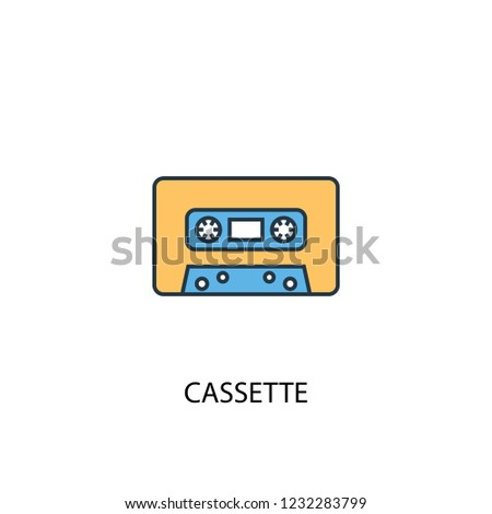 cassette concept 2 colored line icon. Simple yellow and blue element illustration. cassette concept outline symbol design from Music set