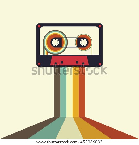 Cassette retro vintage style background vector illustration