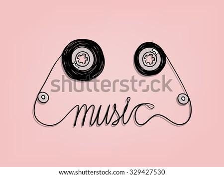 cassette tape music graphic design,music background design concept