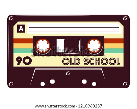 Cassette tape Retro vintage mixtape vector illustration on isolated white background.