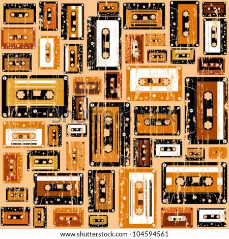 Cassette tape seamless pattern.