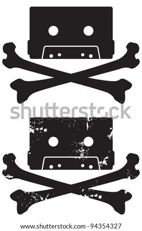 cassette tape skull and