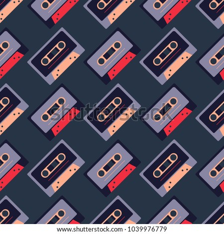 Cassette tapes diagonal seamless pattern. Authentic design for digital and print media.