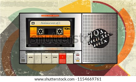 Cassettophone 70's music cover. Awesome mix volume. Retro cassette recorder player trendy background style. Disco party 1970, dance night. Radio popular playlist. Easy editable for Your poster, banner