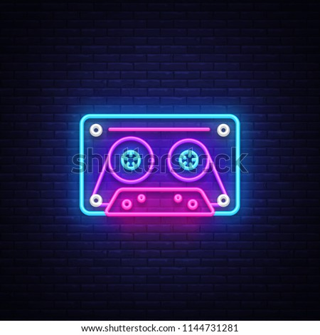 Cassetts for tape recorder neon sign vector. Retro Music Design template neon sign, Retro Style 80-90s, celebration light banner, tape recorder neon signboard, nightly bright advertising. Vector