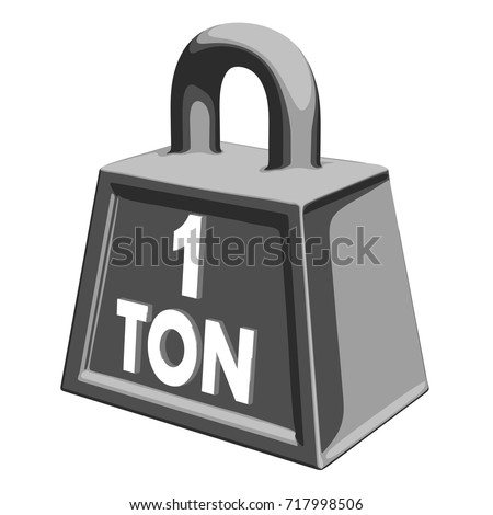 Cast iron weight of one ton on a white background. Vector illustration