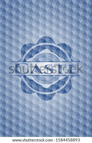 Caste blue hexagon emblem. Vector Illustration. Detailed.