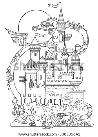castle and dragon vector