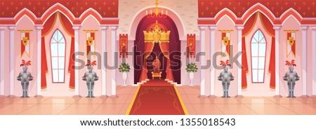 Castle ballroom. Interior medieval royal palace throne royal ceremony room hall kingdom rich fantasy knight game cartoon, vector background