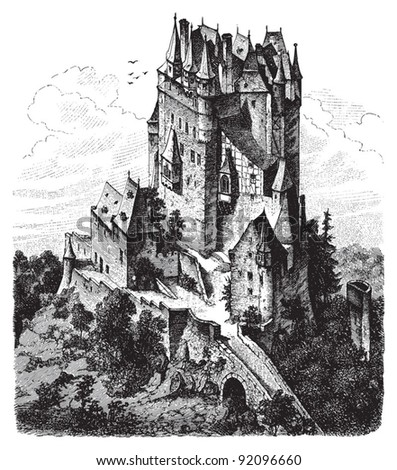 Castle Eltz by Moselle River (Germany) - Vintage illustration / illustration from Meyers Konversations-Lexikon 1897