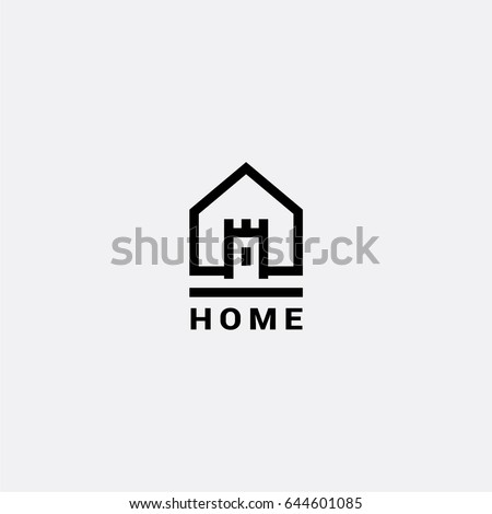 Castle House vector logo stock photo