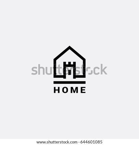 Castle House vector logo stock photo