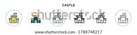 castle icon in filled  thin
