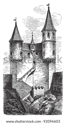 Castle in Neckarsteinach (four-castle town in Germany) - Vintage illustration / illustration from Meyers Konversations-Lexikon 1897