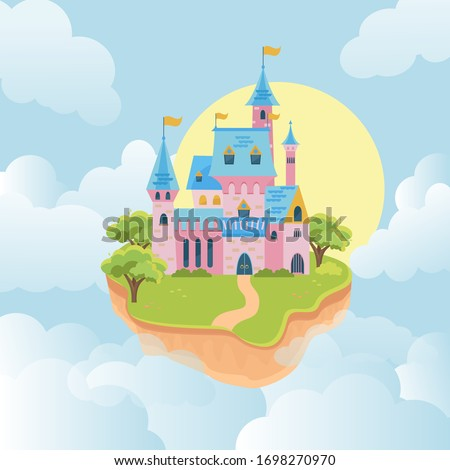 castle in sky. fairytale medieval building in flying island. Pink walls and towers kingdom architectural object in sky. Vector illustration of fortress