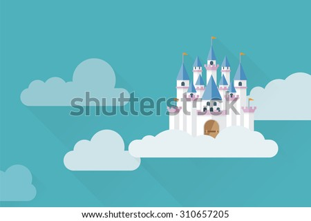 castle in the sky flat design
