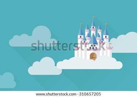 castle in the sky flat design
