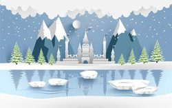castle in winter on the lake. there are snow and pine trees. design paper art and crafts