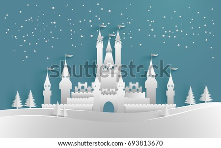 castle in winter with beautiful sky. vector illustration of winter and castle. paper art