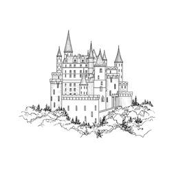 Castle landmark sketch illustration. Medieval palace building on the hill. Engraved landscape