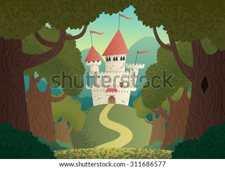 castle landscape  cartoon