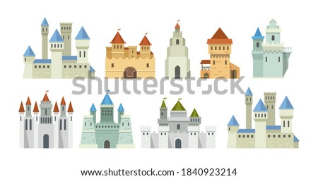 Castle medieval tower set. The fairytale medieval tower, facade mansion princess castle, fortified palace with gates, fabulous king citadel, medieval buildings, historical towered house cartoon vector