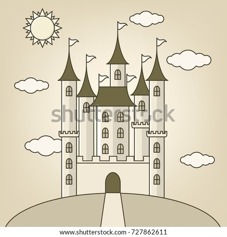 castle of princess with  clouds