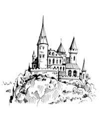 Castle on a rock. Hand drawn illustration converted to vector