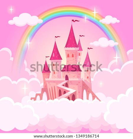 Castle princess. Fantasy flying tale palace fairies clouds magic fairytale royal palace heaven medieval cartoon, vector illustration