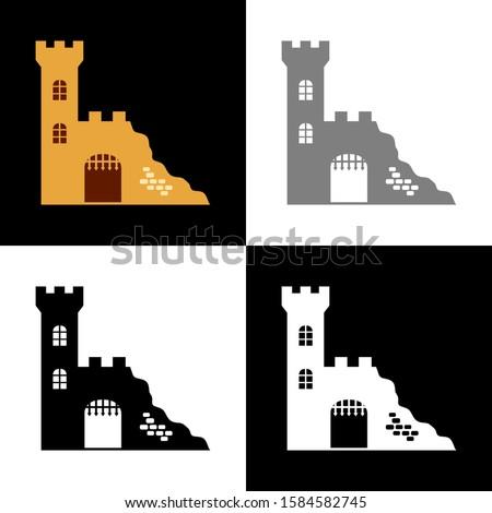 castle ruin icon set  vector