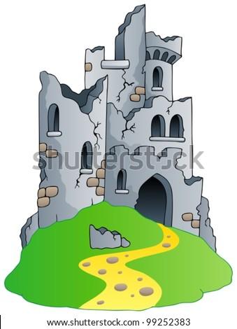 castle ruins on hill   vector